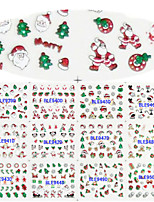 12 Designs Nail Art 3D Christmas Glitter Stickers Santa Claus Christmas Tree Image Nail Decoration BLE939D-950D