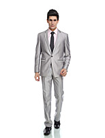 Tuxedos Tailored Fit Notch Single Breasted One-button Viscose/ Wool & Polyester Blended Solid 2 Pieces Gray