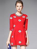 AFOLD® Femme Col Arrondi Manches 1/2 Mini Robes-6006