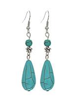 Fashion Earings Jewelry 2016 Vintage Tibetan Silver Turquoise Water Drop Dangle Earrings Jewelry For Women