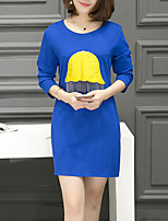 Women's Casual/Daily / Plus Size Street chic Loose Dress,Patchwork Round Neck Above Knee Long Sleeve Blue / Black / Gray Cotton FallMid