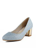 Damen-High Heels-Kleid / Lässig / Party & Festivität-Glanz / Kunstleder-Blockabsatz-Komfort / Stile / Spitzschuh-Blau / Rot / Silber /