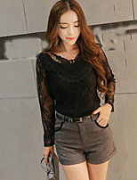GLITTER  Women's Casual/Daily Street chic Fall Set Pant,Solid V Neck Long Sleeve Black Polyester Thin