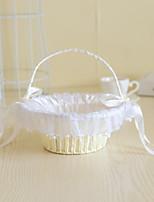Rattan blomst kurv med imitasjon perle for bryllup blomsterpike kurv (22 * 22 * 22)