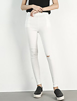Women's Solid White / Black Skinny Pants,Street chic