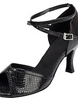 Non Customizable Women's Dance Shoes Leather / Flocking Leather / Flocking Latin / Salsa Sandals / Heels Flared Heel