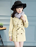 Girl's Casual/Daily Solid Trench Coat,Cotton / Rayon Winter / Spring / Fall Green / Pink / Gray