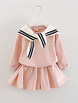 FanXingBeiYiGirl's Casual/Daily Solid Dress / Blouse / Clothing Set,Cotton Spring / Fall Blue / Pink