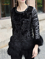 Women's Plus Size / Casual/Daily / Party/Cocktail Sexy / Simple Fur Coat,Color Block Shawl Lapel Long Sleeve Fall /