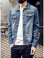Men's Long Sleeve Casual Jacket,Cotton Solid Blue