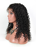 EVAWIGS 10-26 Inch deep wave wave Wigs 100% Human Hair small curly Lace Front Wigs Natural Black Color 130% Density
