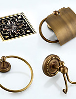 Bathroom Accessory Set / Towel Ring / Toilet Paper Holder / Robe Hook / Drain / Towel Warmer / Antique Bronze