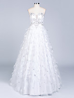 A-line Wedding Dress Floor-length Sweetheart Satin with Beading / Feather / Fur