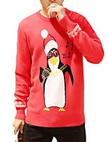 Мужской С принтом Пуловер На каждый день,Хлопок,Длинный рукав,Красный