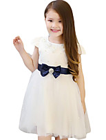 Girl's Casual/Daily Solid Dress,Cotton / Others Summer Pink / White
