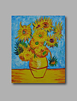 Stretched (Ready to hang) Hand-Painted Oil Painting Canvas Abstract Van Gogh repro Sunflowers Blue Mini Size