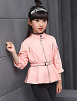 Girl's Casual/Daily Solid Suit & Blazer / Trench Coat,Cotton Spring / Fall Green / Pink / Yellow / Gray
