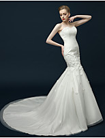 Trumpet / Mermaid Wedding Dress Sweep / Brush Train Sweetheart Tulle with Crystal / Flower