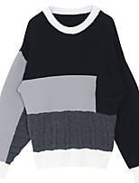 Women's Casual/Daily Street chic Regular Pullover,Color Block Black Round Neck Long Sleeve Cotton All Seasons Medium