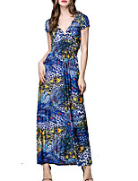 Women's Plus Size / Beach Boho Swing Dress,Floral V Neck Maxi Short Sleeve Blue / Yellow Polyester(Print Ramdonly)
