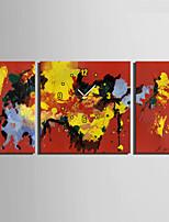 Moderno/Contemporaneo Altro Orologio da parete,Quadrato Tela 30 x 60cm(20inchx20inch)x2pcs+ 60 x 60cm(24inchx24inch)x1pcs Al Coperto
