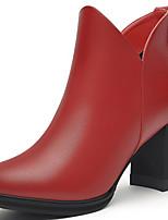 Черный / Красный-Женский-Для офиса / На каждый день-Синтетика-На толстом каблуке-Модная обувь-Ботинки