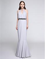 Lanting Bride®Floor-length Chiffon Bridesmaid Dress - Color Block Fit & Flare Notched with Sash / Ribbon