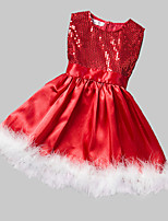 Girl's Formal Patchwork Dress,Polyester Winter / Fall Red
