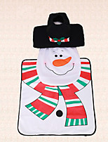 3pcs Christmas Toilet Seat Cover Indoor Bathroom Decoration Scarf Snowman Tank Rug Toilet Cover Set