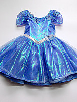 Performance Dresses Children's Performance Cotton Bow(s) 1 Piece Blue Performance Short Sleeve Natural Dress