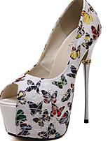 Women's Sandals Summer Peep Toe Fleece Casual Stiletto Heel Animal Print Black Others