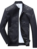 Men's Casual/Daily Simple / Punk & Gothic Leather Jackets,Solid Long Sleeve Fall / Winter Blue / Red / Black / YellowPU / Cotton /