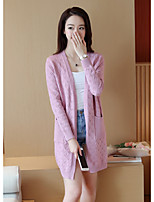 Women's Casual/Daily Simple Long Cardigan,Solid Multi-color V Neck Long Sleeve Cotton Fall Medium