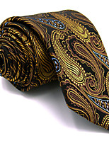 Men's Necktie Tie 100% Silk Yellow Burgundy Paisley For Men Jacquard Woven Dress Casual