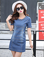 Women's Casual/Daily / Plus Size Simple A Line Dress,Solid Round Neck Above Knee Short Sleeve Blue Spandex Summer