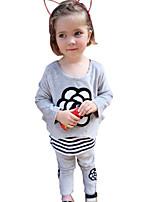 Girl's Cotton Spring/Autumn Velvet Fashion Patchwork Long Sleeve Floral Stripes Sweatshirt And Pants Two-piece Set
