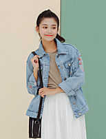 Women's Casual/Daily Spring / Fall Denim JacketsSolid Shirt Collar Long Sleeve Blue Special
