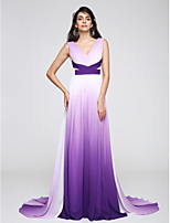 TS Couture® Formal Evening Dress Sheath / Column V-neck Court Train Chiffon with Side Draping