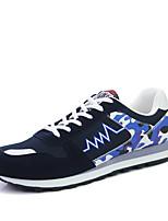 Femme-Extérieure / Décontracté / Sport-Bleu / Rouge / Gris-Talon Plat-Confort-Sneakers-Daim / Tulle