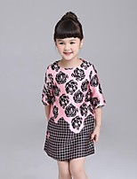 Girl's Casual/Daily Floral Dress / BlouseCotton Spring / Fall Pink