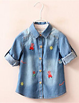 Girl's Casual/Daily Print Blouse,Cotton Spring / Fall Blue
