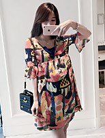 Maternity Casual/Daily Simple Loose Dress,Print Round Neck Above Knee Short Sleeve Orange Others Summer