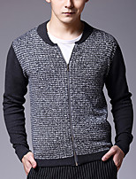 Men's Color Block Casual Pullover,Cotton Long Sleeve Black / Gray