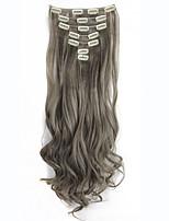 130g 7pcs / clips set na extensão do cabelo longos pedaços de cabelo encaracolado falsificados 16 grampo em extensões do cabelo falsos