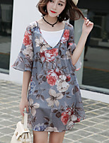 Women's Plus Size / Going out /Daily Simple Loose Dress,Floral V Neck Above Knee ½ Length Sleeve Gray Polyester Summer
