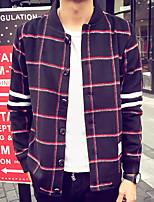 Men's Long Sleeve Casual / Plus Size Jacket,Wool Plaid Black / Blue