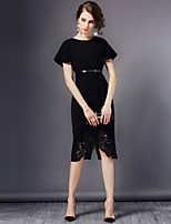 Women's Plus Size / Going out Sophisticated Sheath Dress,Solid Round Neck Knee-length Short Sleeve Black Polyester