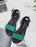 Women's Sandals Summer Sandals Leatherette Outdoor Flat Heel Others Black / Green Others