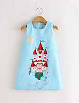 2016 Autumn Girl's sleeveless Cartoon Castle Dress children fashion princess dress