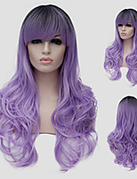 Light purple wavy hair and the wind nightclub performances Street color million with a partial wig.